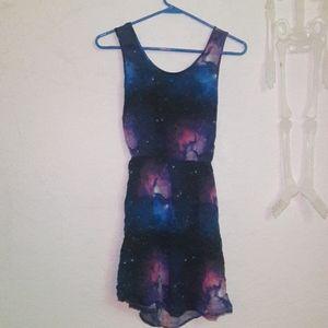 Galaxy dress rue 21 cut out back mini start purple
